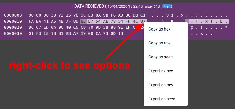 flespi traffic viewer context menu