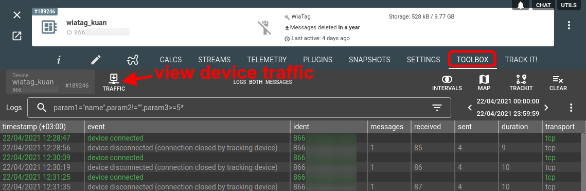 open traffic viewer from device