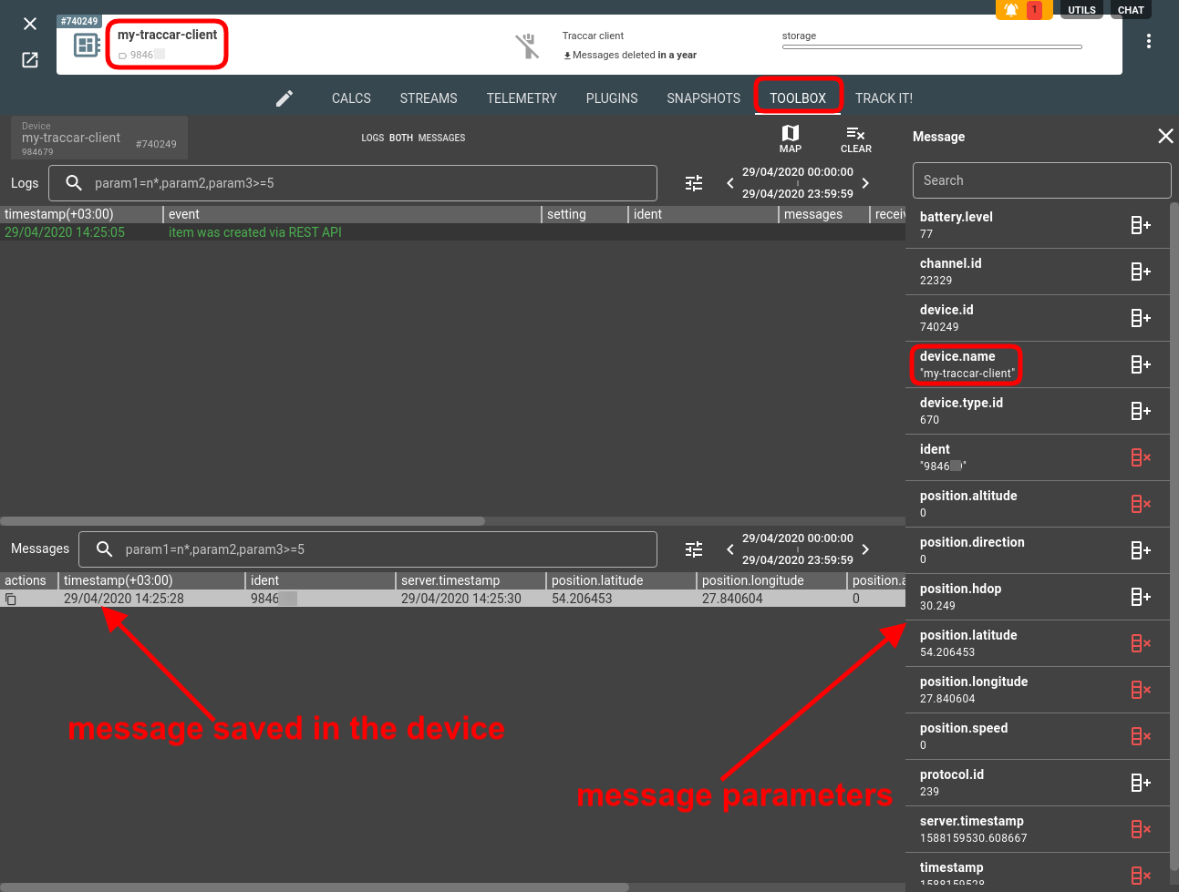 traccar client device toolbox