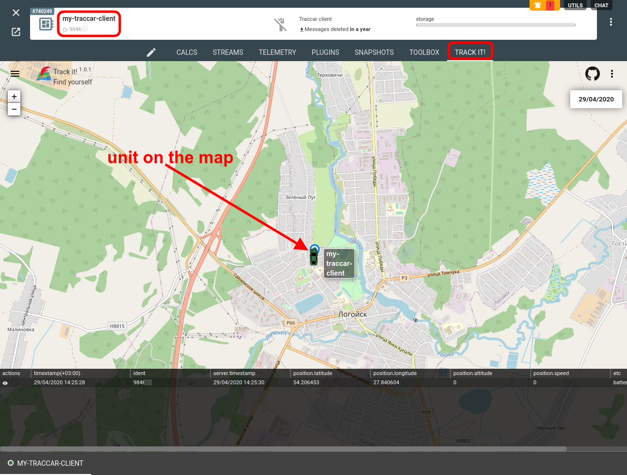 traccar client device map trackit flespi