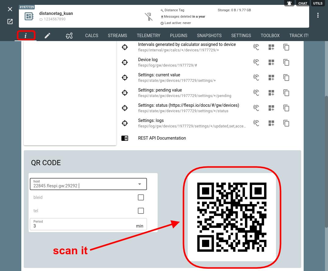 qr code distance tag device flespi