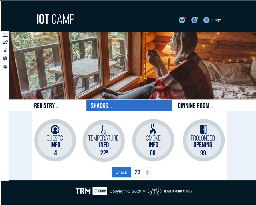 iot camp application interface room info