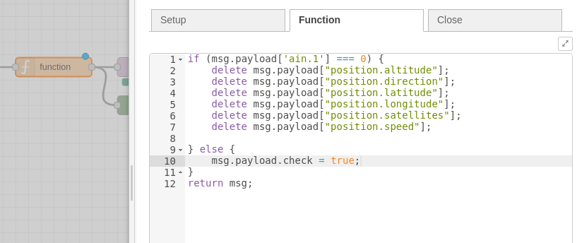 node-red function node add parameter