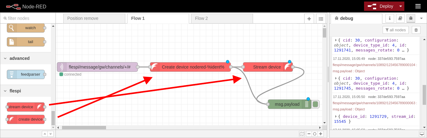 node-red flow example with flespi nodes