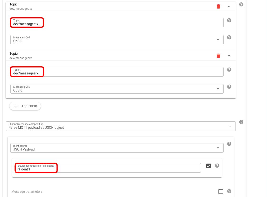 flespi channel config mqtt topics