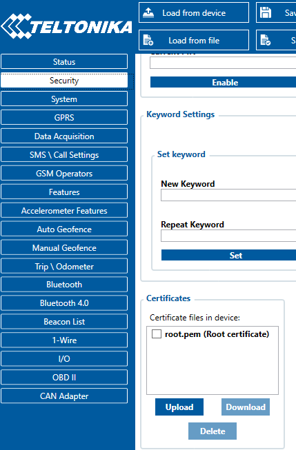 teltonika configuration certificate upload