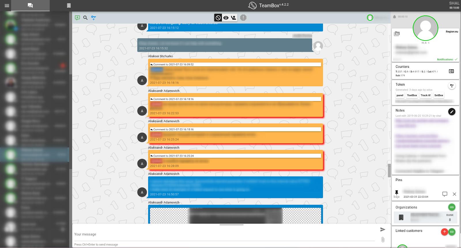 flespi teambox chat screen