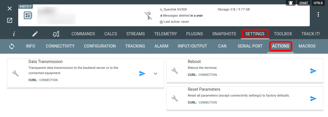flespi device configuration actions tab