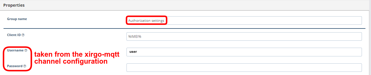 mqtt authorization parameters xirgo